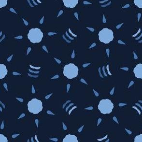 Indigo blue abstrac star flower shapes