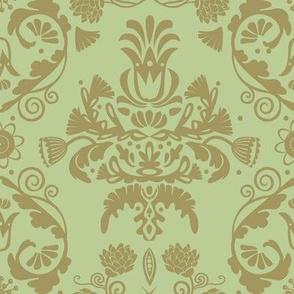 Elegant damask | olive green