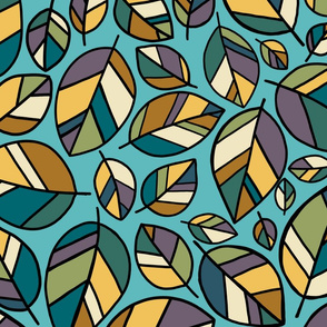 Colour block leaves. Large scale