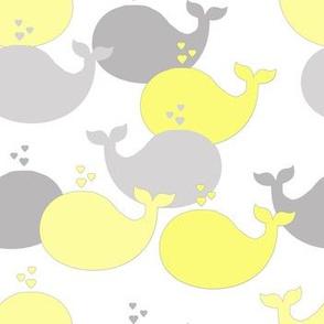 Whales Yellow Gray Grey Baby Nursery Decor