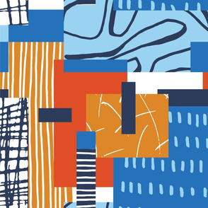 Abstract Color Block - Blue and Orange