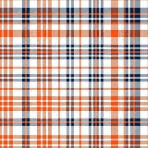 broncos plaid fabric - navy and orange fabric, sports fabric, american football fabric - navy and orange check