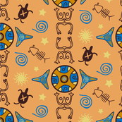 Taino Caribbean Indian Tile  (Small)