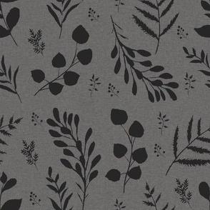 Gray linen leaves