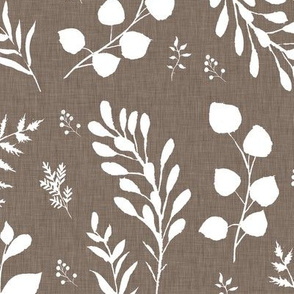 Neutral linen white leaves