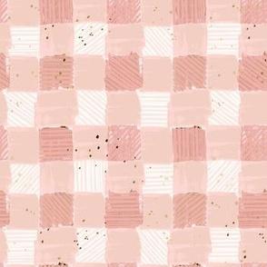 Buffalo Plaid lumber Jill blush pink gold flecks