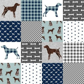 "TINY - 2"" squares german shorthair pointer pet quilt  b cheater wholecloth"