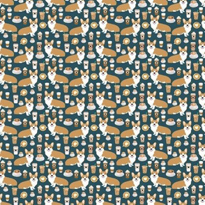 TINY - corgi and coffees fabric cute corgi dog fabric coffee cafe latte fabrics cute coffee psl fabrics