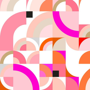 Retro Geo Rainbows - Blush, Pink & Orange