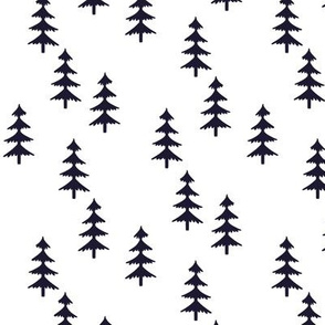Midnight Navy Trees (white) Woodland Forest Fabric