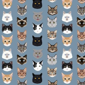 SMALL - cat faces hello cats kitty cute faces cats fabric