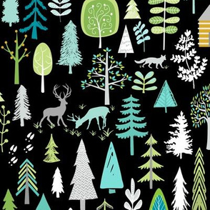 Cabin in the Woods (black) Trees Woodland Forest, LARGE scale