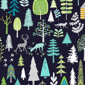 Cabin in the Woods (midnight navy) Trees Woodland Forest, LARGE scale