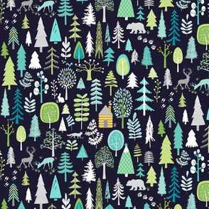 Cabin in the Woods (midnight navy) Trees Woodland Forest, SMALLER scale