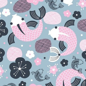 Japanese Koi Fish illustration cool blue pink