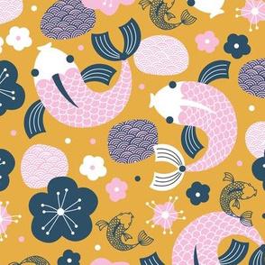 Japanese Koi Fish illustration autumn ochre yellow pink girls
