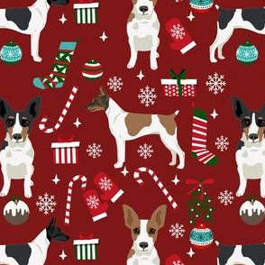 rat terrier christmas fabric - dog fabric, dog holiday fabric, dog christmas - burgundy