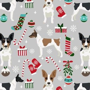 rat terrier christmas fabric - dog fabric, dog holiday fabric, dog christmas -grey