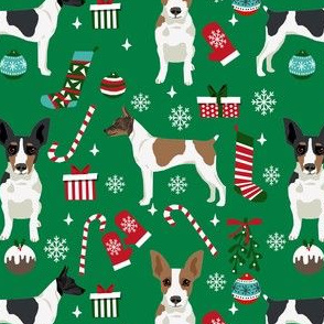 rat terrier christmas fabric - dog fabric, dog holiday fabric, dog christmas - green