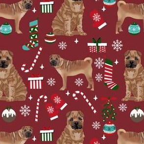 shar pei christmas fabric, dog holiday, dog christmas fabric, sharpei fabric, dogs - burgundy