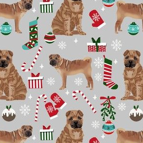 shar pei christmas fabric, dog holiday, dog christmas fabric, sharpei fabric, dogs -  grey
