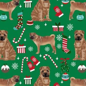 shar pei christmas fabric, dog holiday, dog christmas fabric, sharpei fabric, dogs - green