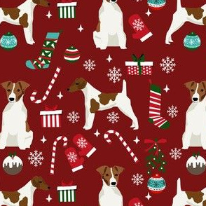 smooth fox terrier christmas fabric - dog holiday fabric, xmas fabric - burgundy