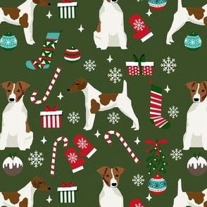 smooth fox terrier christmas fabric - dog holiday fabric, xmas fabric - dark green