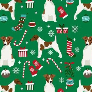 smooth fox terrier christmas fabric - dog holiday fabric, xmas fabric - green