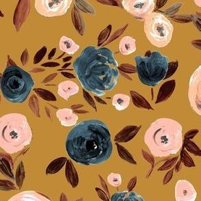 Autumn Rose - indigo   blush on mustard