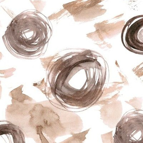 Boho abstraction  • watercolor stains and circles in earthy shades