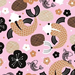 Japanese Koi Fish illustration terra cotta latte pink