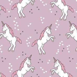 Unicorn love rainbow dreams girls fantasy horse in pastel mauve purple pink