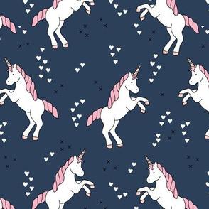 Unicorn love rainbow dreams girls fantasy horse in pastel navy blue pink