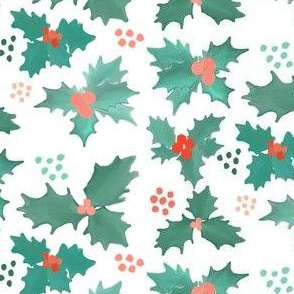 holly and dots - pastel christmas