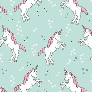 Unicorn love rainbow dreams girls fantasy horse in pastel mint pink