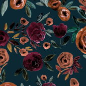 Autumn Rose - plum on teal