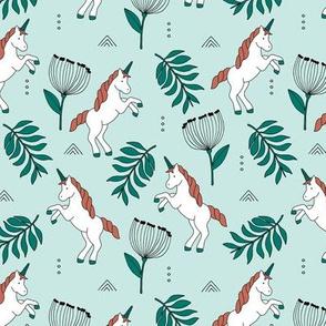 Little Unicorn botanical garden dreams palm leaves and unicorns dream pattern mint