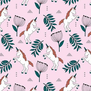 Little Unicorn botanical garden dreams palm leaves and unicorns dream pattern pink emerald green