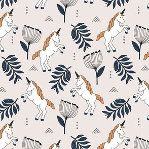 Little Unicorn botanical garden dreams palm leaves and unicorns dream neutral terra cotta green beige boys