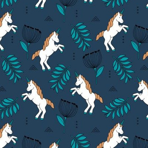 Little Unicorn botanical garden dreams palm leaves and unicorns dream pattern navy blue aqua