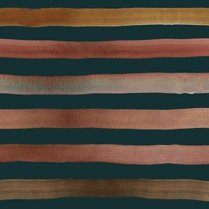 autumn ombre stripe - teal 3/4 inch