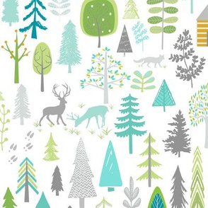 Cabin in the Woods (white) Trees Woodland Forest, LARGE scale