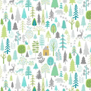 Cabin in the Woods (white) Trees Woodland Forest, SMALLER scale