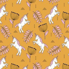 Little Unicorn botanical garden dreams palm leaves and unicorns dream pattern ochre yellow pink