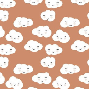 Sweet puffy clouds kawaii sky smiling sleepy cloud in fall brown white SMALL