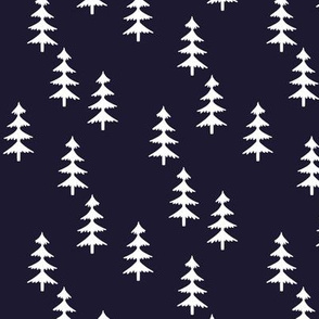 Trees (midnight navy) Woodland Forest Fabric