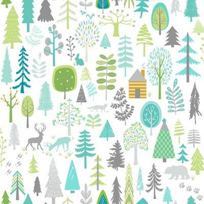 Cabin in the Woods (white) Trees Woodland Forest, MEDIUM scale
