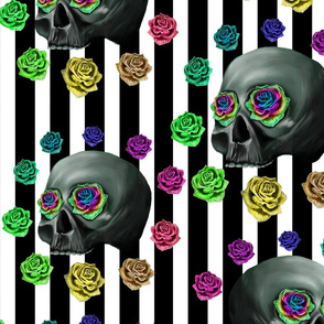 Neon skull stripes large