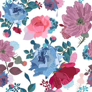 Blue and Pink Roses, Cosmos Flowers Vintage Style Pattern